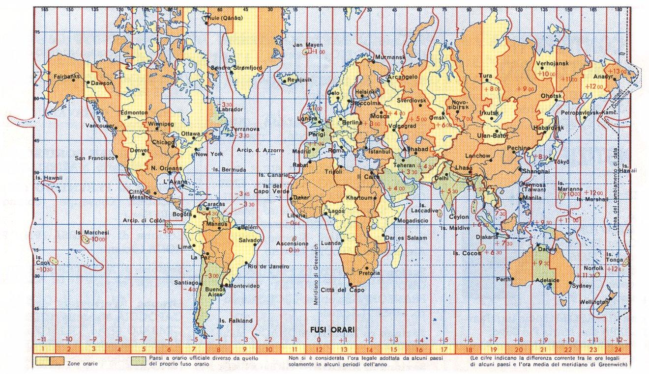 Cartina Del Mondo Con Meridiani E Paralleli.Fusi Orari